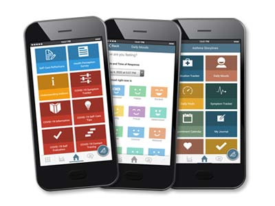 Image of mobile phones with the Health App from Allergy Asthma Network