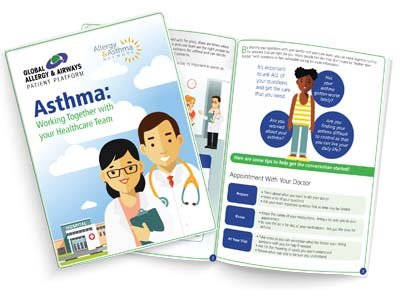 Thumbnail printout of a brochure on questions for your doctor when it pertains to asthma