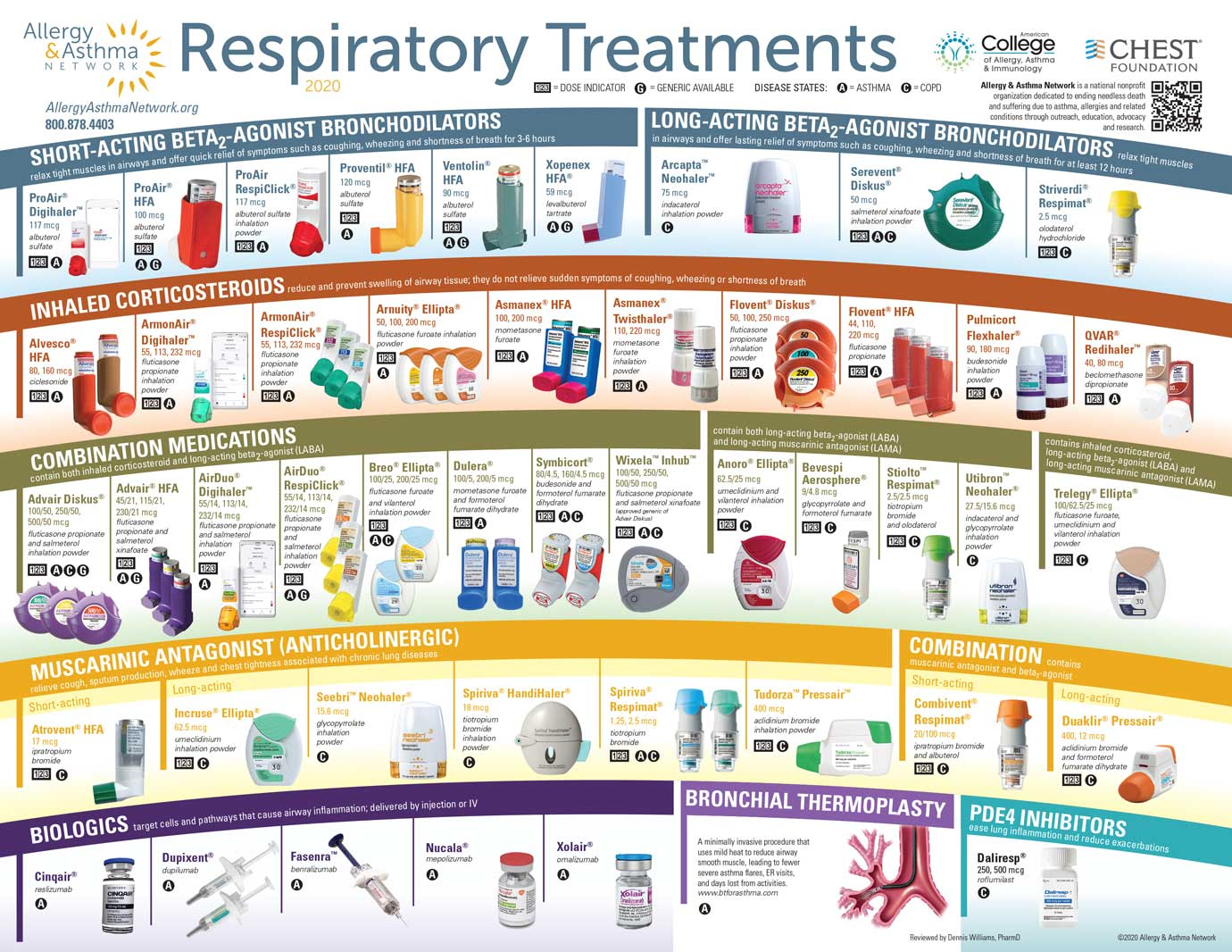 Image of a poster that shows all the respiratory treatments as of Nov 2020. It includes: short acting bronchodilators, inhaled corticosteroids, combined medications such as Advair, muscarinic antagonists, and biologics.
